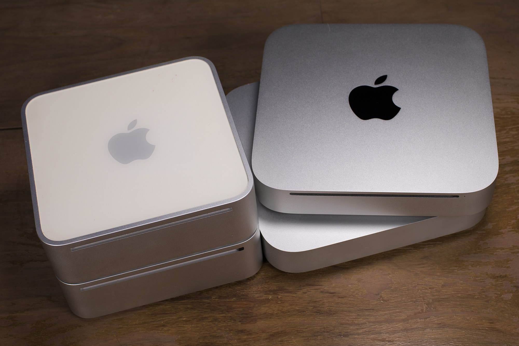 Four members of the Mac mini family.